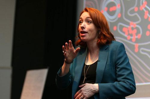 Hannah Fry talking at STEM event
