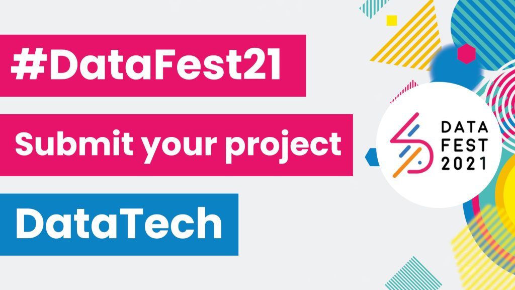 An image asking people to submit their project to DataTech